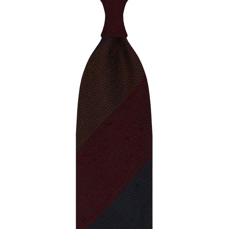 cravate rayée en grenadine de soie shantung – marron / bordeaux / bleu marine