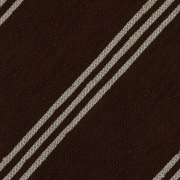 TRIPLE STRIPE SHANTUNG GRENADINE HANDROLLED TIE – BROWN / BEIGE STRIPE