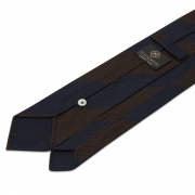 BLOCK STRIPE GRENADINE GARZA FINA TIE – BROWN / NAVY