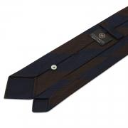 cravate à rayures en grenadine de soie garza fina marron / bleue marine