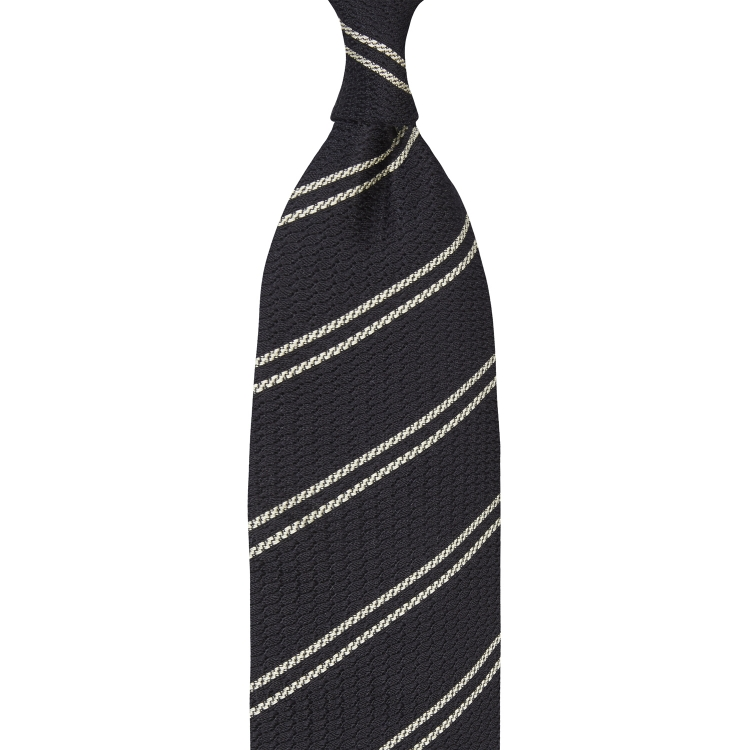 CLASSIC STRIPED GARZA GROSSA GRENADINE TIE – NAVY / Beige