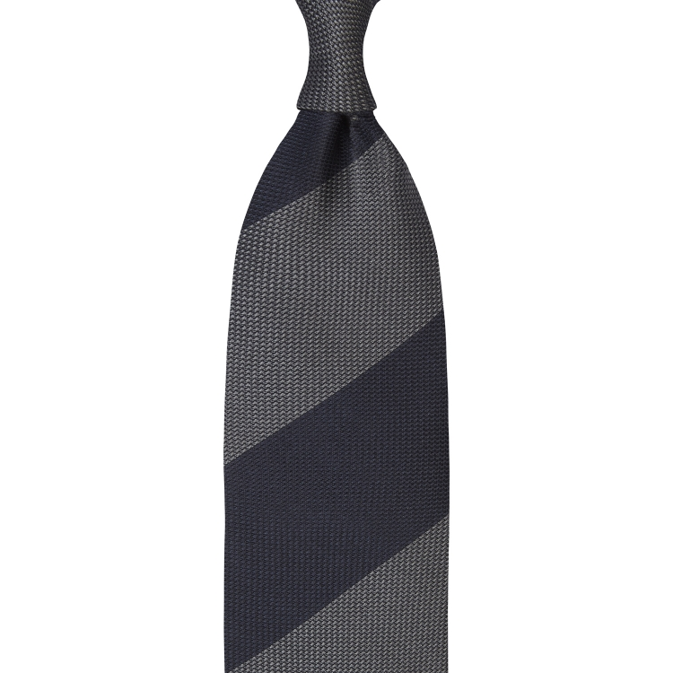BLOCK STRIPE GRENADINE GARZA FINA TIE – GREY / NAVY
