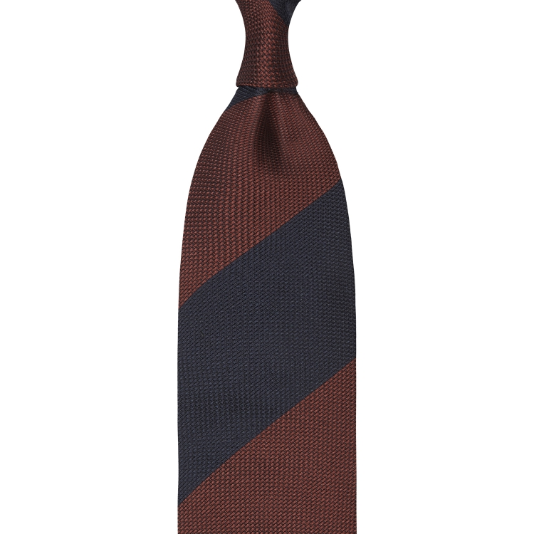 BLOCK STRIPE GRENADINE GARZA FINA TIE – RUST / NAVY