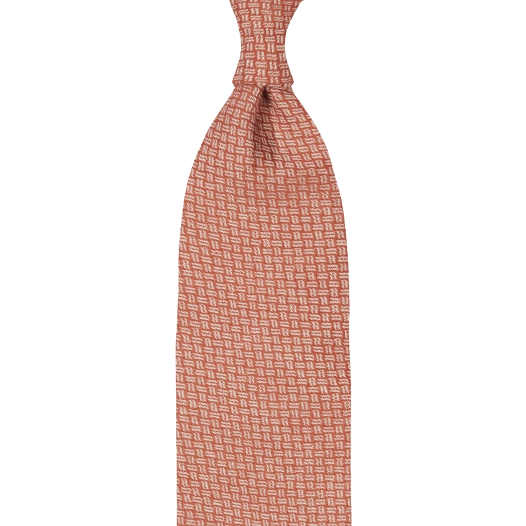 MOSAIC PATTERN CASHMERE TIE – ORANGE