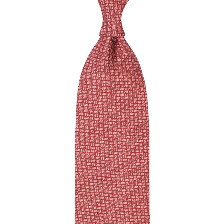 cravate en cachemire à motifs mozaïque - rouge / blanc