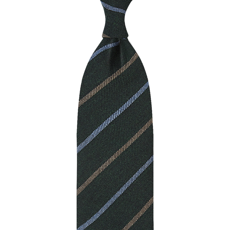 MID BLUE & LIGHT BROWN STRIPE / GREEN HANDROLLED CASHMERE TIE