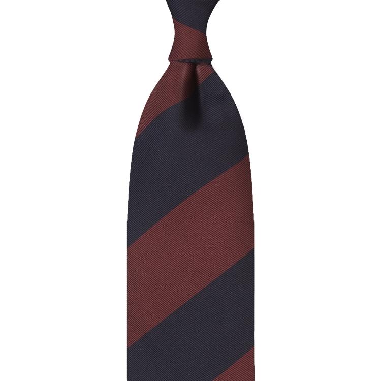 cravate en jacquard de soie - Bleu Marine / Bordeaux