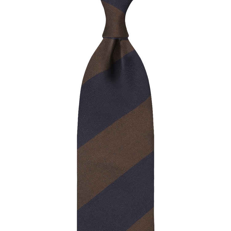 BLOCK STRIPE SILK JACQUARD TIE – NAVY / BROWN