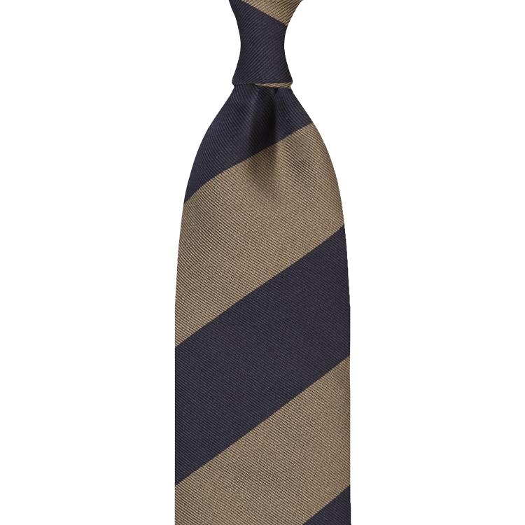cravate en jacquard de soie - Bleu Marine / TAUPE