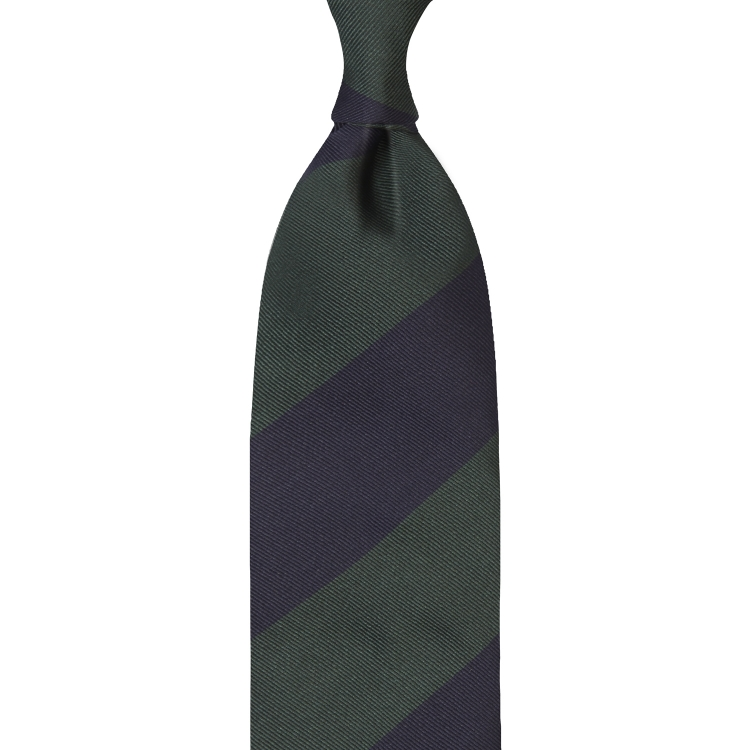 BLOCK STRIPE SILK JACQUARD TIE – NAVY / FOREST GREEN