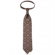 MOSAIC PATTERNED PRINT TWILL SILK TIE – Navy
