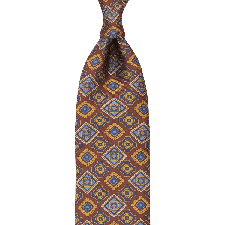 MOSAIC PATTERNED PRINT TWILL SILK TIE – RED