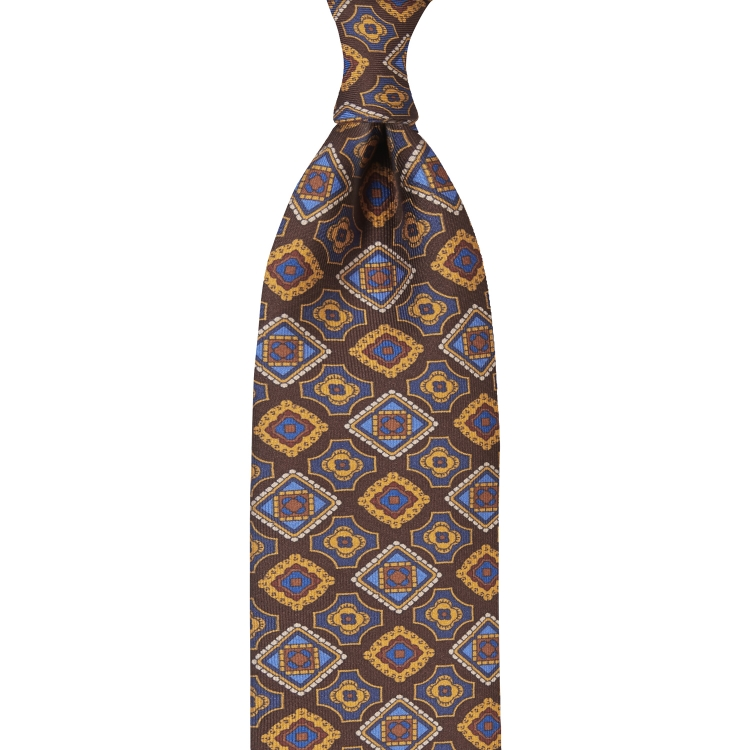 MOSAIC PATTERNED PRINT TWILL SILK TIE – Brown