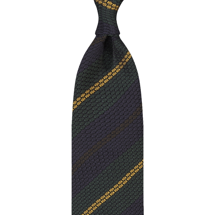 MULTI STRIPE GARZA GROSSA GRENADINE TIE – GREEN / MUSTARD / NAVY / BROWN