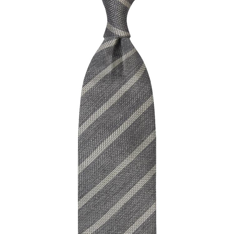 cravate à rayures en grenadine - Grise / Beige