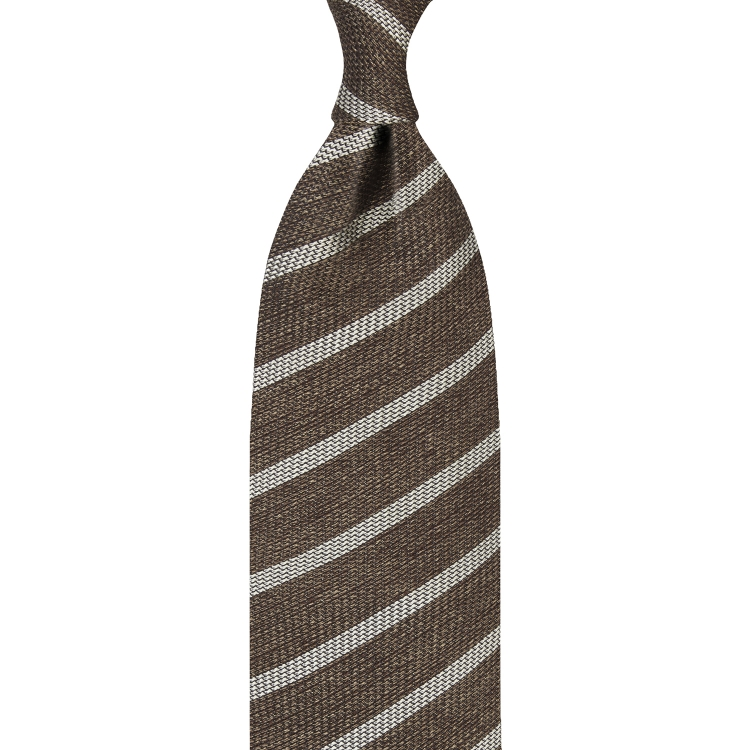 CLASSIC STRIPE GRENADINE TIE – BROWN / BEIGE