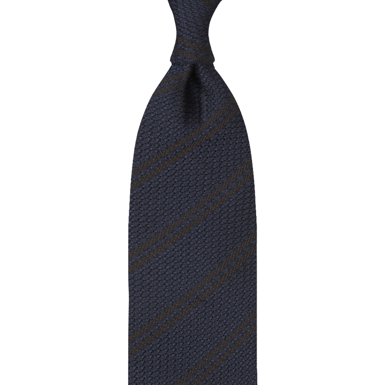 CLASSIC STRIPED GARZA GROSSA GRENADINE TIE – NAVY / BROWN