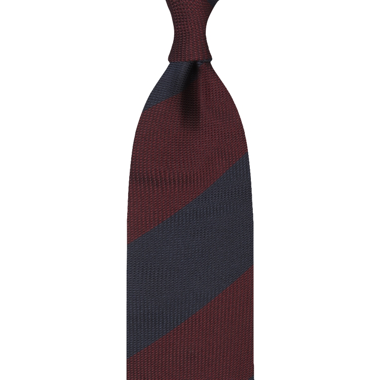 BLOCK STRIPE GRENADINE GARZA FINA TIE – BURGUNDY / NAVY