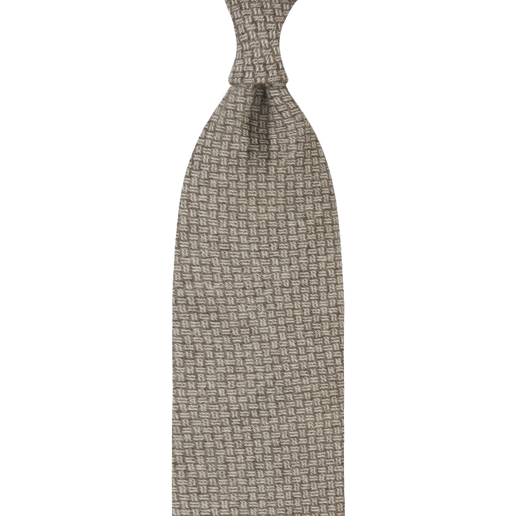 MOSAIC PATTERN CASHMERE TIE – LIGHT BROWN
