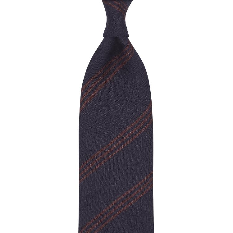 Triple Stripe Shantung Grenadine Handrolled Tie - Navy & Brown