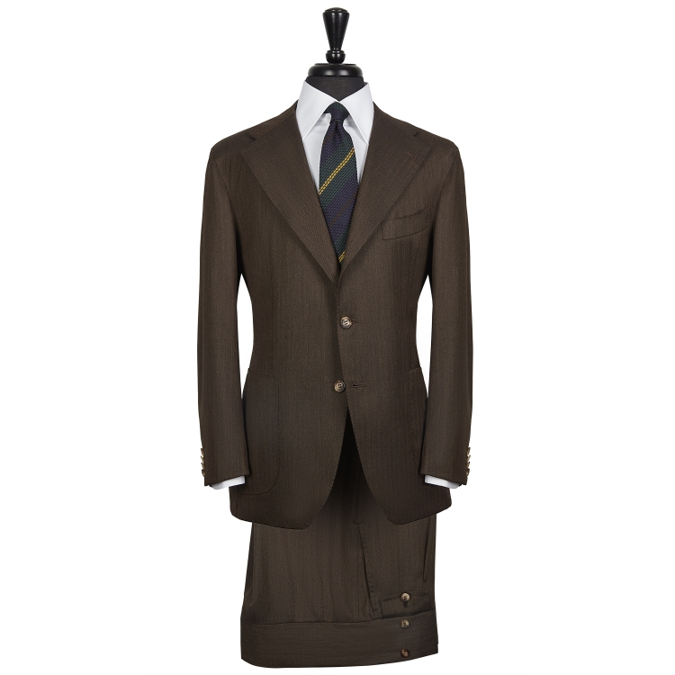 SSM12 – HERRINGBONE PATTERNED DARK BROWN SINGLE BREASTED NEAPOLITAN TWO-PIECE SUIT – 280 GR/MT 100% HOLLAND & SHERRY WOOL