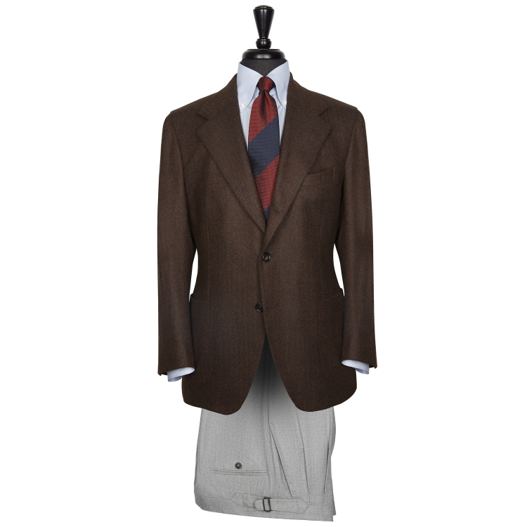 SSM14 – SOLID DARK BROWN SINGLE BREASTED NEAPOLITAN JACKET – 310 GR/MT – 100% LORO PIANA WOOL / CASHMERE HERRINGBONE FABRIC