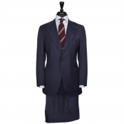 SSM15 – SOLID NAVY SINGLE BREASTED TWO PIECE NEAPOLITAN SUIT – 260 GR/MT – 100% PIACENZA ETHOS SUPER 170'S & SILK WOOL FABRIC