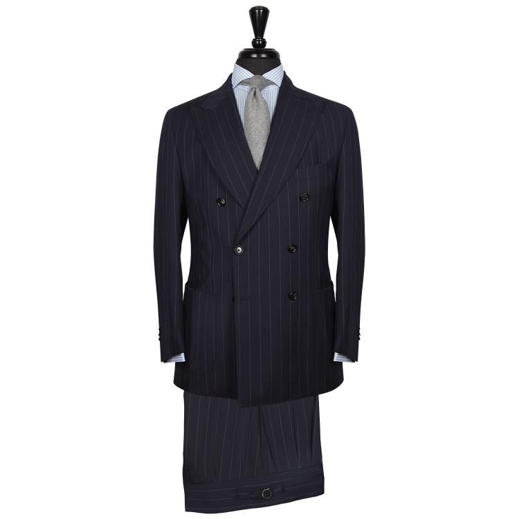 SSM16 – Costume croisé deux pièces napolitain bleu marine à rayures – 260 g/m2 – 100% laine Loro Piana