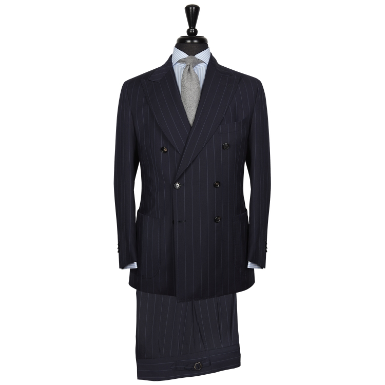 SSM16 – NAVY CHALKSTRIPE DOUBLE BREASTED TWO PIECE NEAPOLITAN SUIT – 260 GR/MT – 100% LORO PIANA WOOL FABRIC