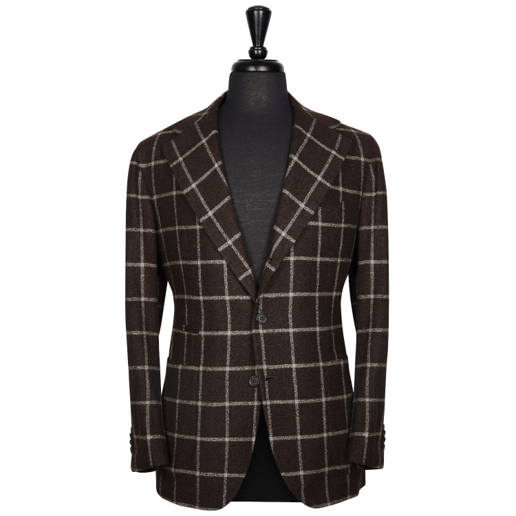 SSM13 – WINDOWPANE BROWN/BEIGE SPORTS SINGLE BREASTED NEAPOLITAN JACKET – 330 GR/MT – 45% WOOL, 42% COTTON , 14% PA SOLBIATI