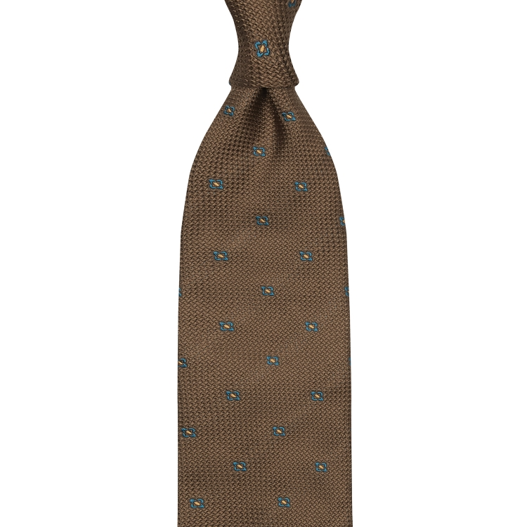 CLASSIC FLORAL GRENADINE TIE – BROWN