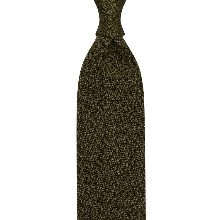 cravate tricot zig-zag - Olive