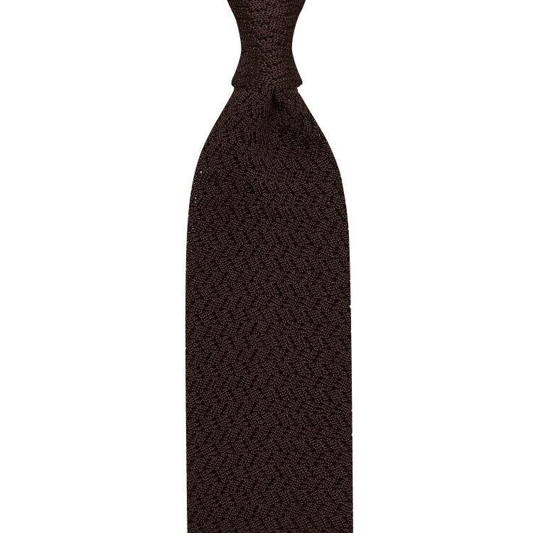 ZIG ZAG KNIT TIE – BROWN