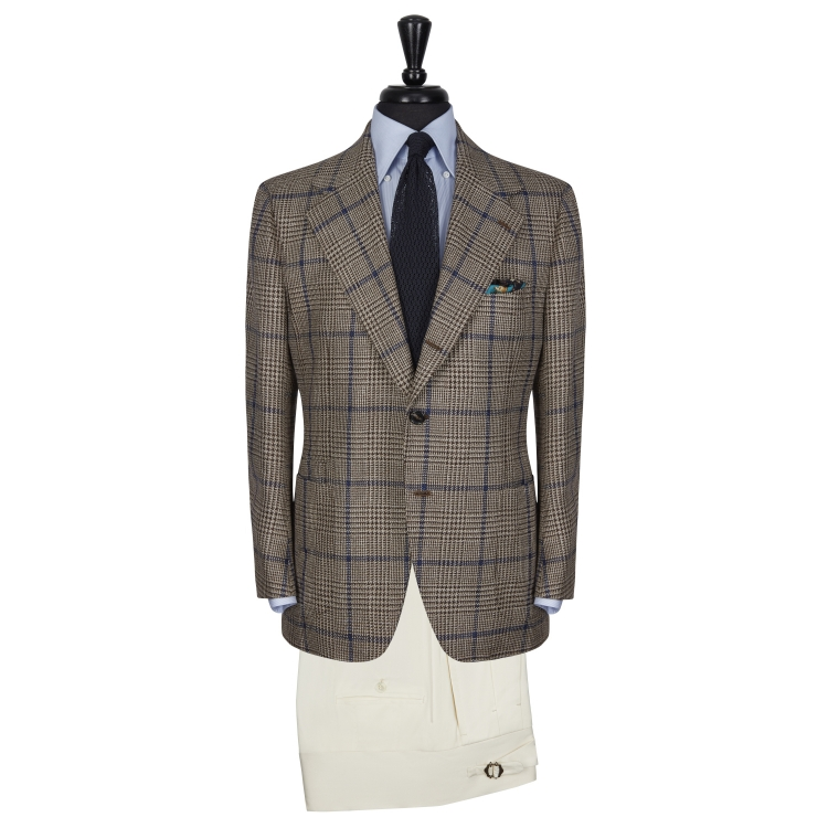 SSM17 – PATTERNED CHECK SINGLE BREASTED SPORTS JACKET – CACCIOPPOLI WOOL / SILK / LINEN - SPRING / SUMMER - MADE IN NAPLES