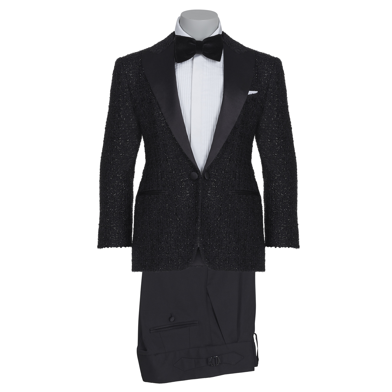 SSM KIDS / 001 - DIAMOND BLACK (SATIN PEAK LAPEL) TUXEDO SUIT