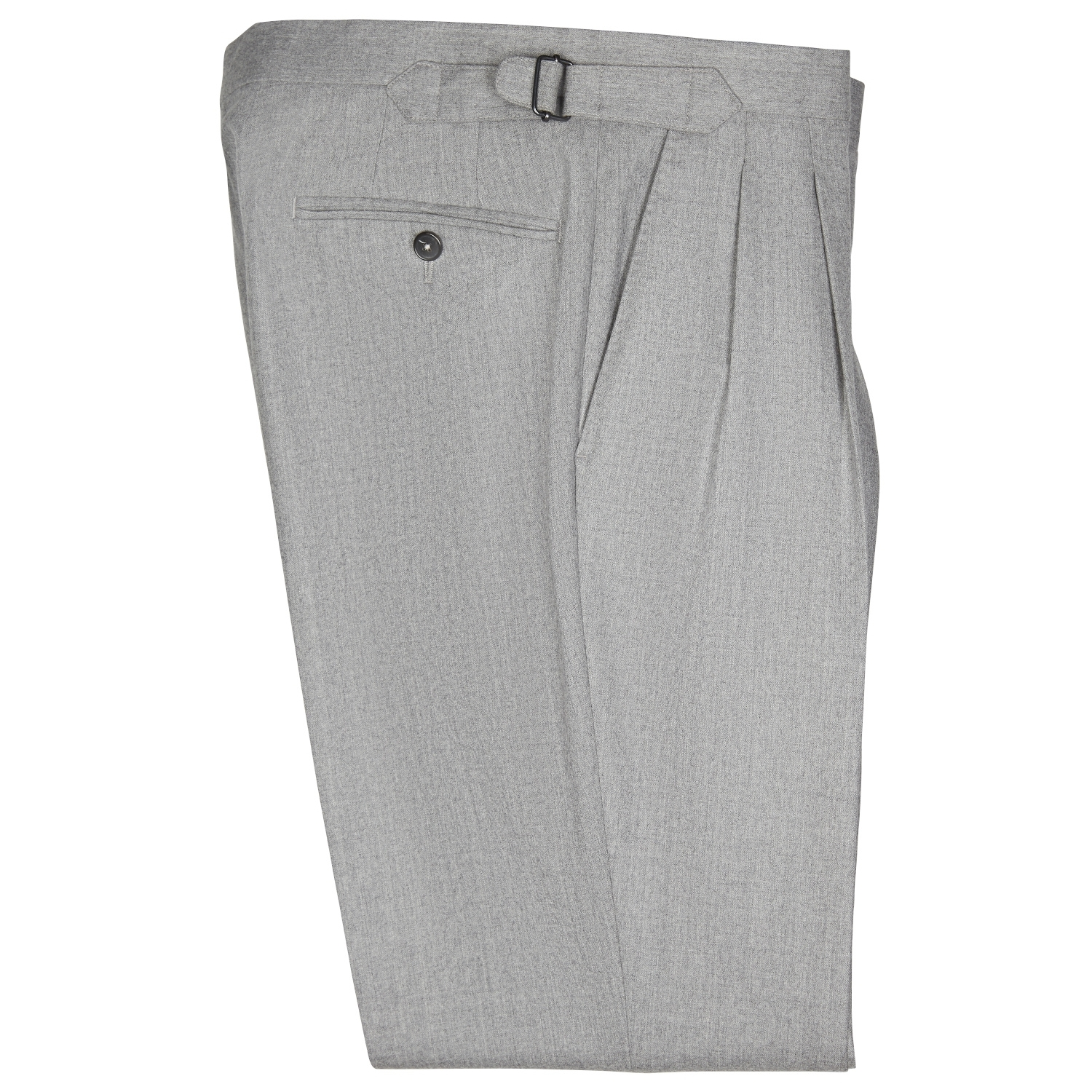 SSM-TR4 – Light grey double reverse pleats with side-adjusters - 100% wool  mid-high waisted flannel trousers @VBC fabric.