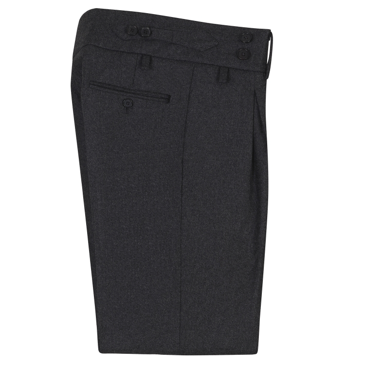 SSM-TR2 – DARK GREY HIGH-WAIST BAND TROUSERS WITH INVERTED PLEATS – LIGHTWEIGHT, 56% KAROO'S MOHAIR / 44% WOOL LORO PIANA