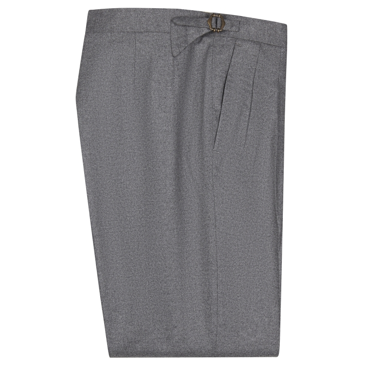 SSM-TR5 – Mid Grey double reverse pleats w/ side-adjusters - Cashmere/Wool mid-high waisted flannel trousers