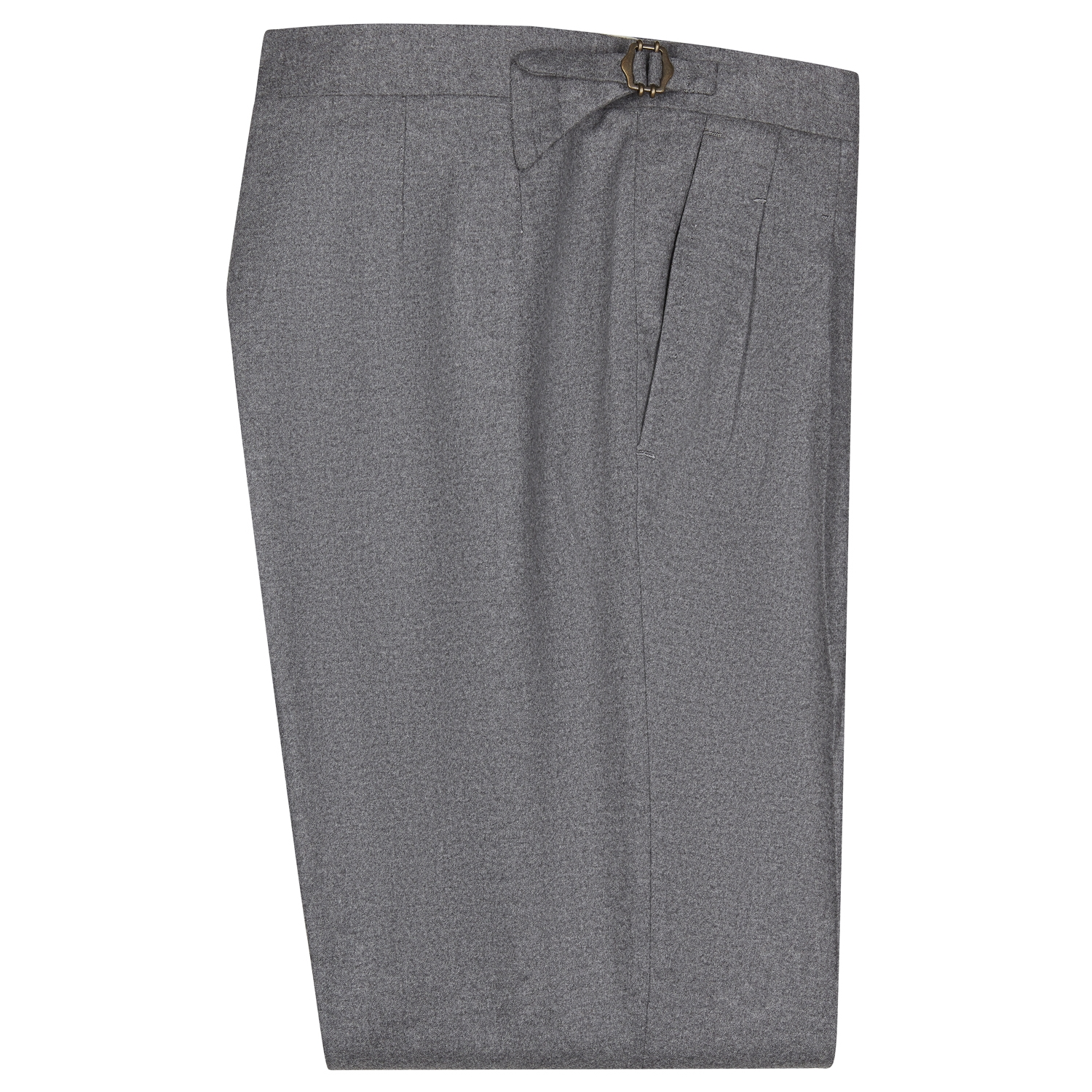 SSM-TR5 – Mid Grey double reverse pleats w/ side-adjusters - Cashmere/Wool mid-high waisted flannel trousers @Loro piana fabric