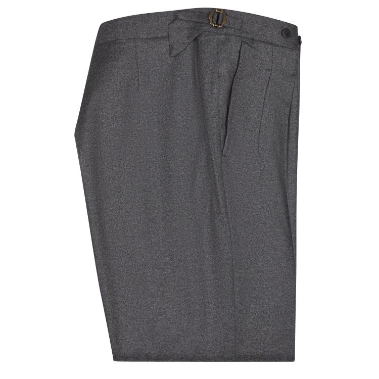 SSM-TR6 - Pantalon gris foncé à double pinces inversées - taille semi-haute - Mélange Cachemire/Laine @Loro piana