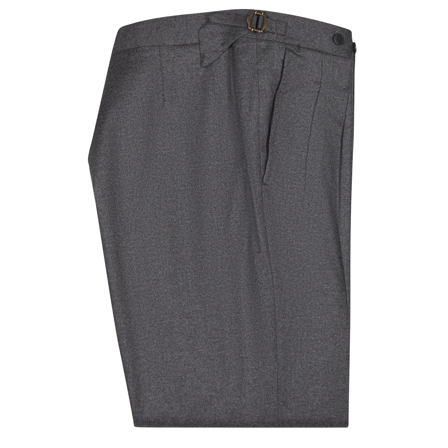 SSM-TR6 – Dark Grey double reverse pleats w/ side-adjusters. Cashmere/wool mid-high waisted flannel trousers @loro piana fabric.