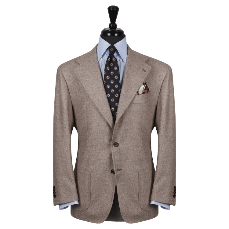 SSM10 – BEIGE SINGLE BREASTED JACKET – 100% PIACENZA CASHMERE