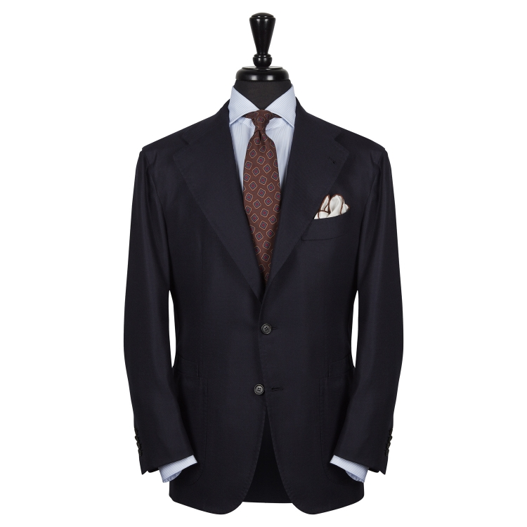 SSM10 – NAVY SINGLE BREASTED JACKET – 100% PIACENZA CASHMERE