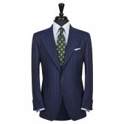 SSM3 - Navy Chalkstripe 2-piece Traveller's Suit - 100% Cacciopoli Fresco Traveller
