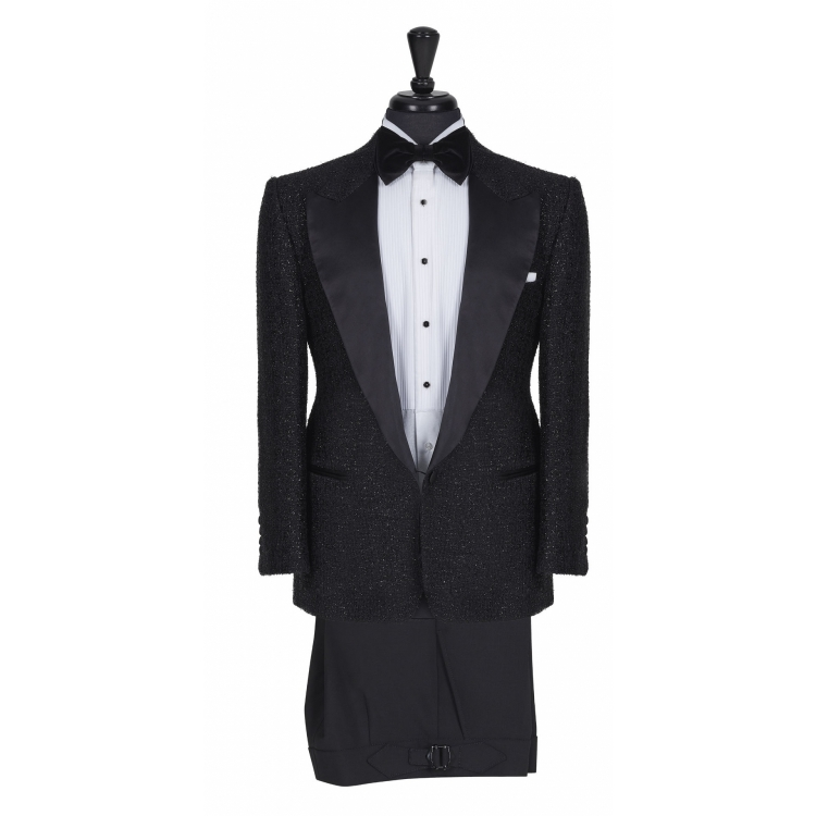 SSM ESQ. / 006 - DIAMOND BLACK (SATIN PEAK LAPEL) TUXEDO SUIT