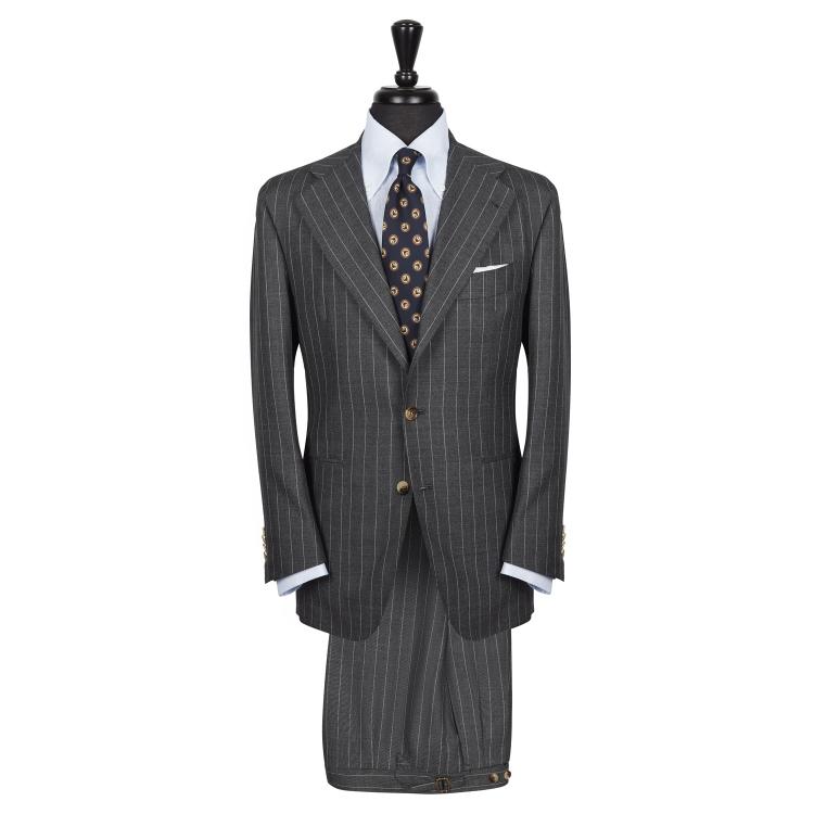 SSM3 - Costume droit 2 pièces gris à rayures - 100% Fresco Traveller Caccioppoli