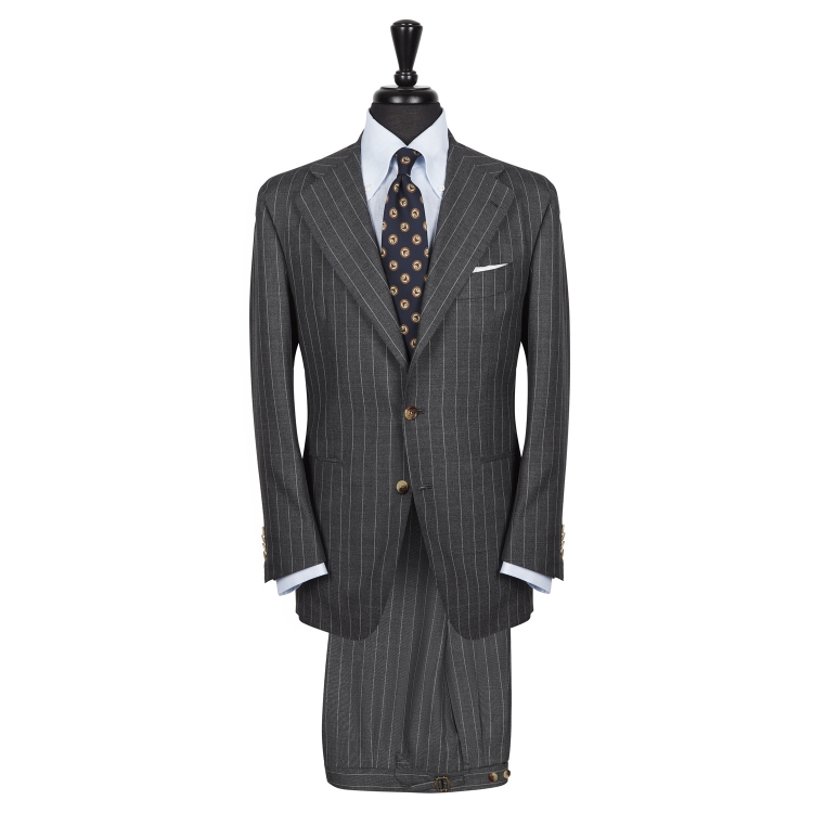 SSM3 - Grey Chalkstripe 2-piece Traveller's Suit - 100% Cacciopoli Fresco Traveller