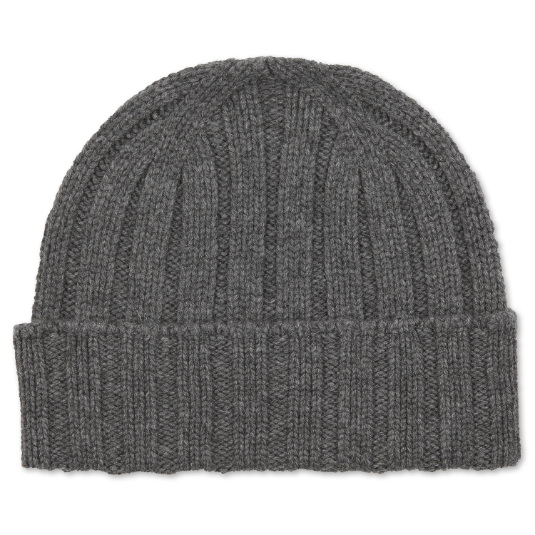 CHUNKY RIBBED CASHMERE BEANIE HAT