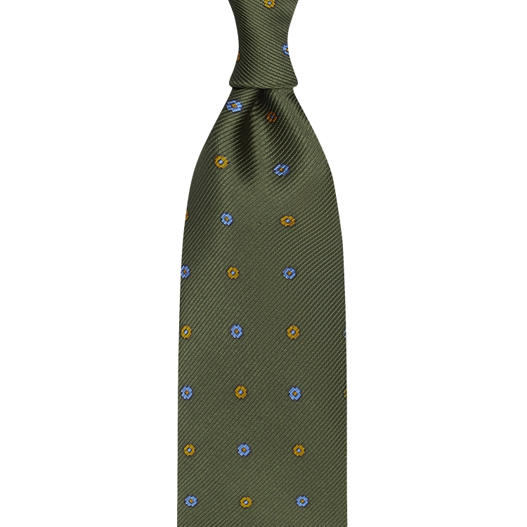 ORNAMENT PATTERNED WOVEN SILK TIE – OLIVE