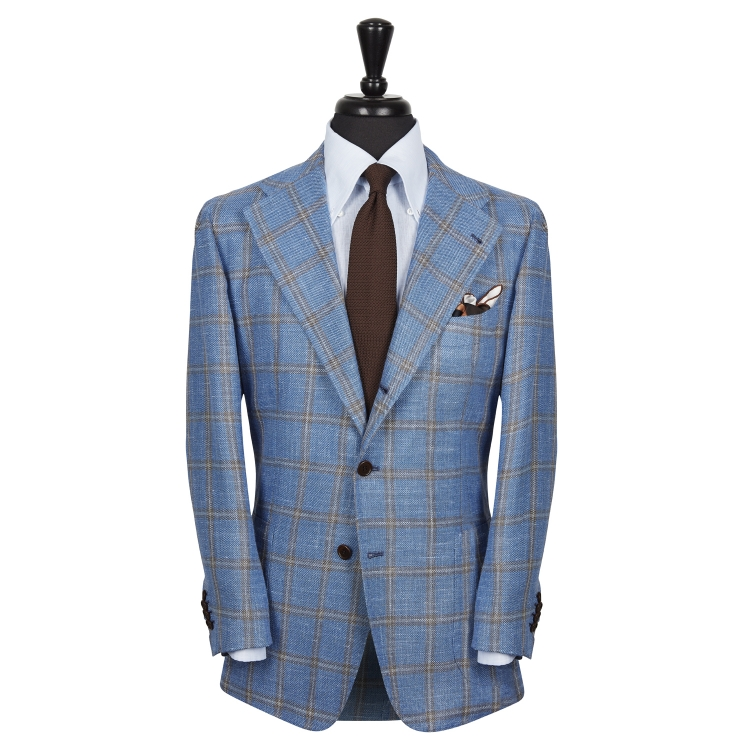 SSM13 - Check Patterned Light Blue/Brown Sport Single Breasted Neapolitan Jacket - Scabal Wool, Silk, Linen Hopsack Weave